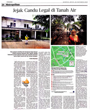 "Artikel ""Jejak Candu Legal di Tanah Air"" di  Harian Kompas"